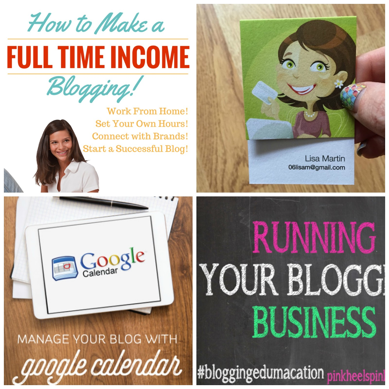Blogging Income, Business Cards, Blogging Calendar, Blogging Business