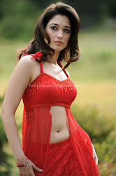 Thamanna hot Fleshy Navel show in red dress