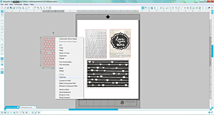 Heather Greenwood Designs | Silhouette Software Tutorial: creating unique journal cards using cut files and patterns | #pocketscrapbooking #silhouetteamerica #tutorial