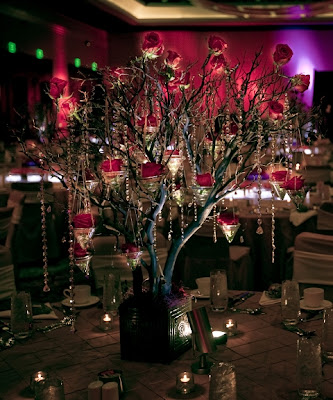 Romantic Hanging Crystal Wedding Centerpieces