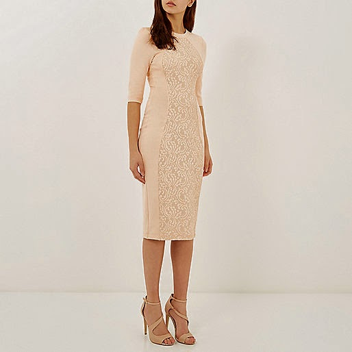 river island peach midi dress