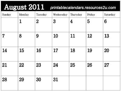 blank august calendar 2011. Free 2011 Calendars with