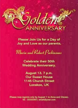 Convite de bodas de 50 anos decorado