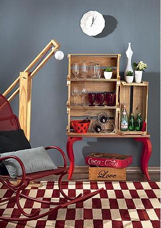 decoração e reciclagem, caixotes de madeira