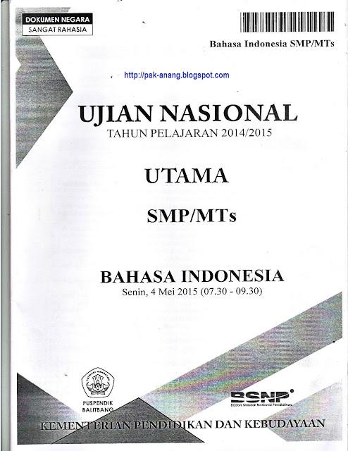 Naskah Soal Un Bahasa Indonesia Smp 2015 Paket 1