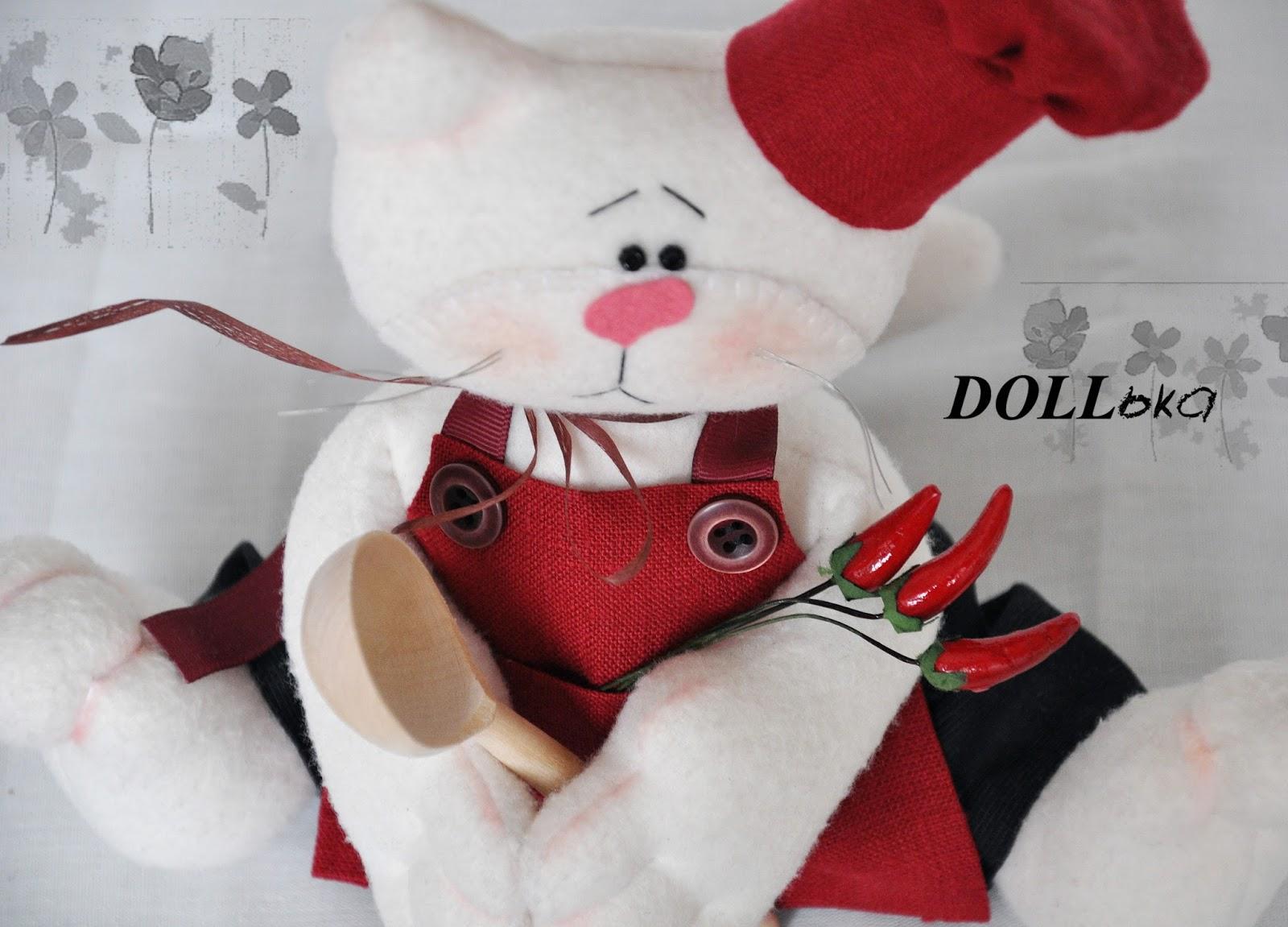 Кот шеф-повар Василий текстильная игрушка ручной работы