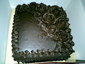 Choc Moist Cake deco wif rose ganache