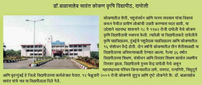 Balasaheb Sawant Kokan Vidyapeeth Dapoli Details