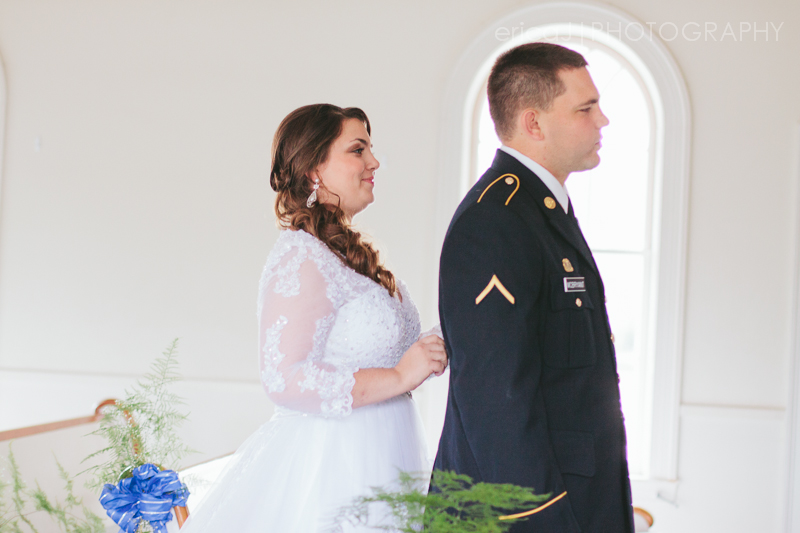 bride and groom first look army dress blues