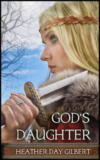Viking woman shown holding a sword on cover of God's Daughter, by Heather Gilbert