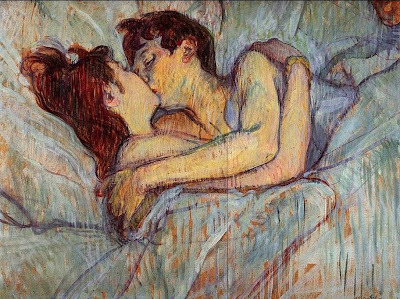in bed, kiss