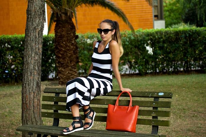maxi dress righe