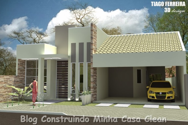 ideias jardins moradias : ideias jardins moradias:Construindo Minha Casa Clean: Fachadas de Casas Simples, Pequenas, mas