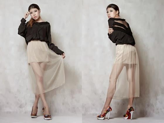 Sheer skirts, faldas transparentes de velo.