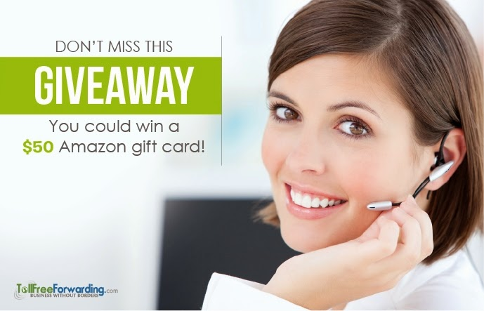 Enter the Tollfree Forwarding $50 Amazon GC Giveaway. Ends 8/6.