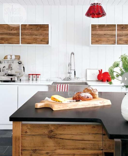 small kitchen island reclaimed wood cabinets beadboard backsplash cute