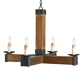 An Electric Version Of Early Wooden Cross Chandelier