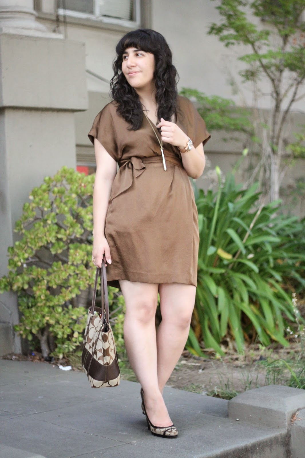 DVF Brown Mini Kimono Dress