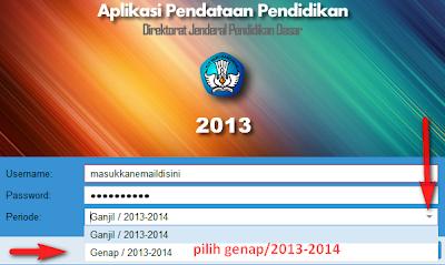 cara mengisi data semester genap 2013 2014 dapodik 2013, data semesetr 2 pada dapodik 2013, cara login dapodik semesetr genap
