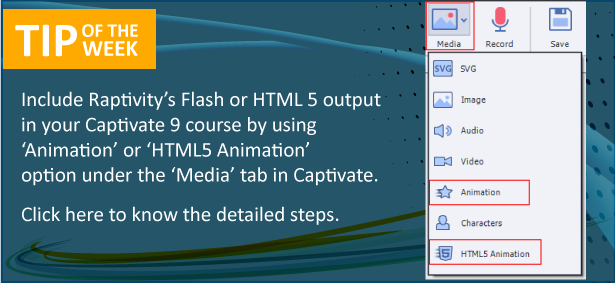 Tip of the Week: Integrate Raptivity with Adobe Captivate 9
