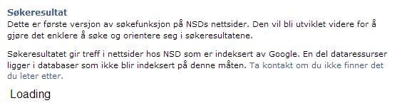 Søk fungerer ikke hos NSD