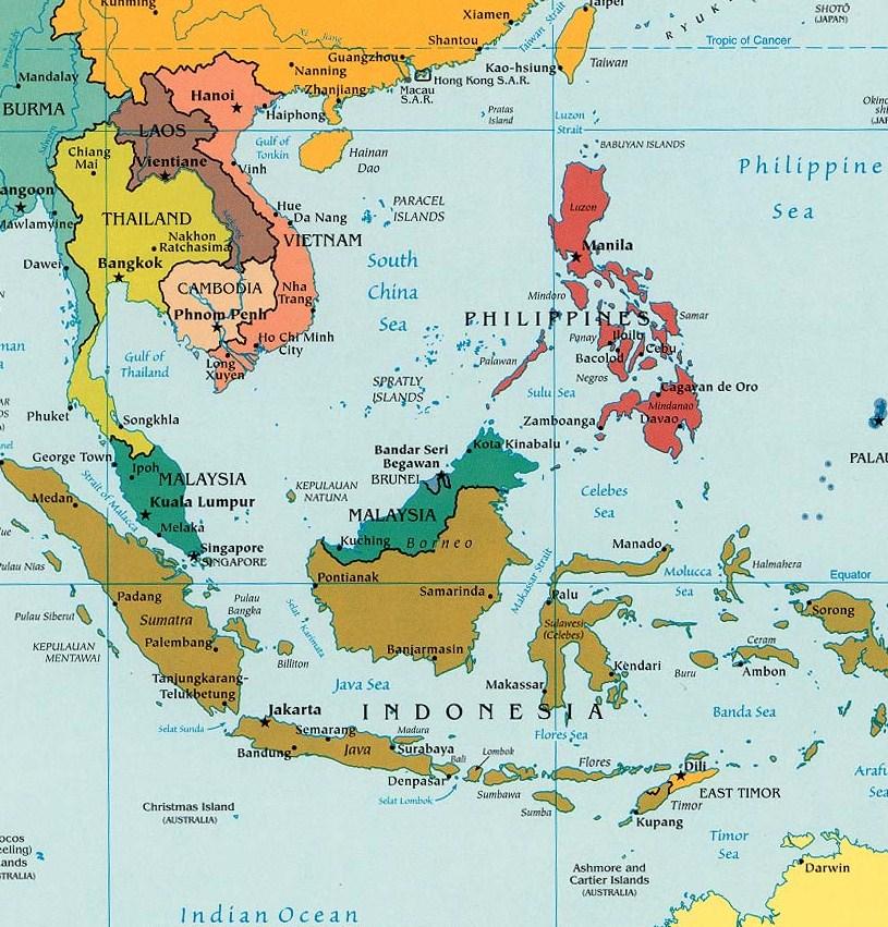 Sudeste Asiatico Mapa Viaje al Sudeste Asi Tico de