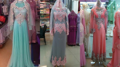 Model baju pengantin berjilbab dengan variasi warna-warni