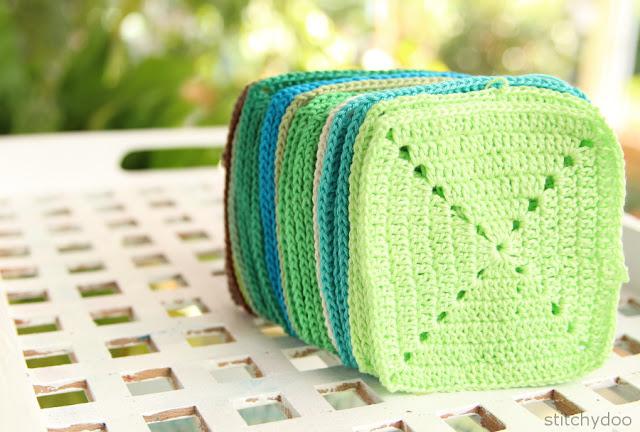 Einfarbige Quadrate für eine Häkeldecke | solid squares for a crochet blanket