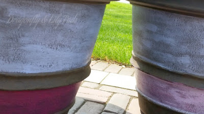Painted Pots, Patio Pots, Patio Paints, Blue, Lavender, Hot Pink, Stripes