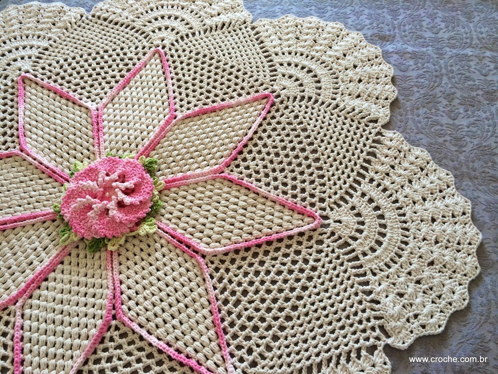 Tapete Redondo Flor Primavera Croche Com Br -> Tapete De Croche Redondo Passo A Passo