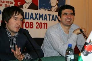 Echecs à Kazan : Radjabov et Kramnik à la conférence de presse après leur nulle en 25 coups sur un Gambit Dame © Chess-News