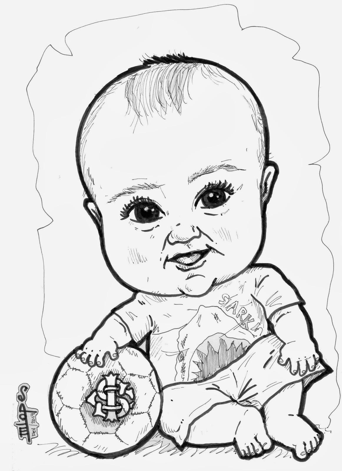 Desenho de bebê realizado pelo Desenhista Marcelo Lopes de Lopes