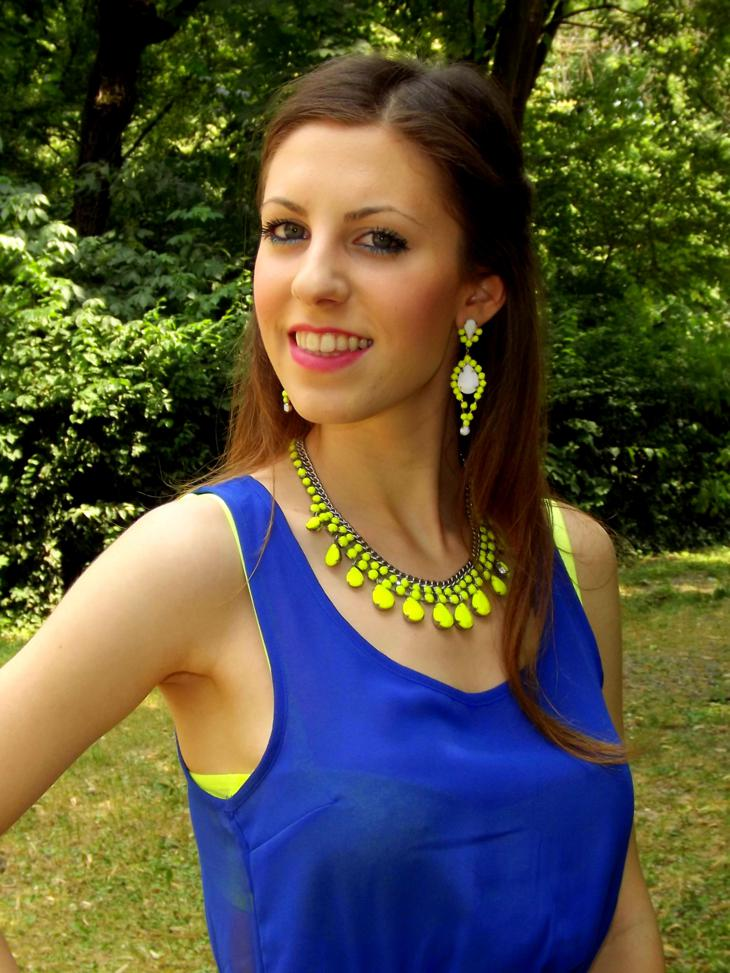 neon accessories fluorescent yellow necklace electric blue dress