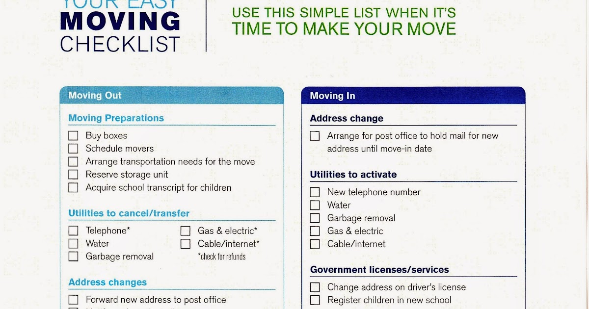 Moving Checklist | Moving Checklist