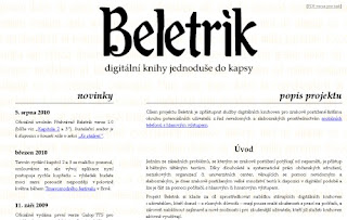 Beletrik - screenshot tituln strnky webu