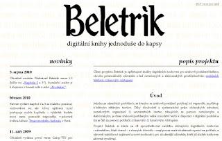 Beletrik - screenshot titulní stránky webu