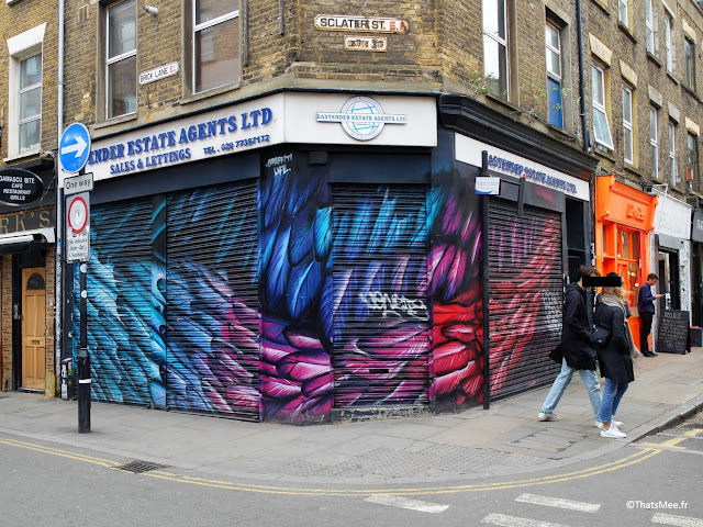 Graffiti Plumes bleu violet feathers wall, Sclater St Londres