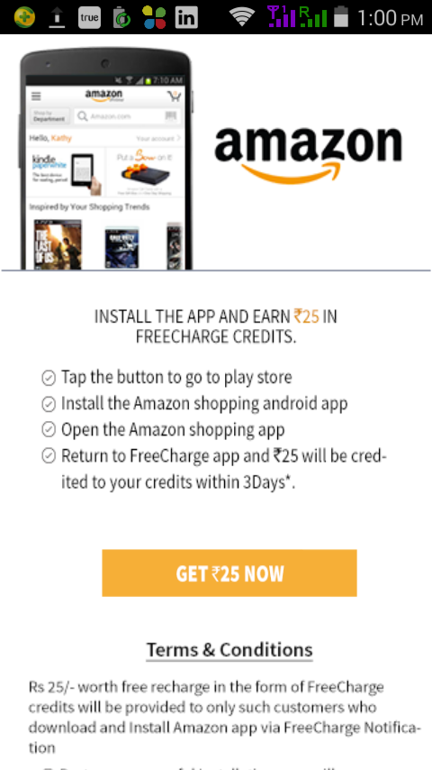 Earn Rs 25 Freecharge Credits for installing Amazon App