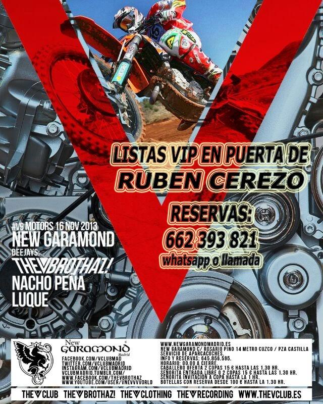 "NEW GARAMOND SÁBADO, 9 DE NOVIEMBRE: ""V"" MOTORS - LUQUE & NACHO PEÑA"