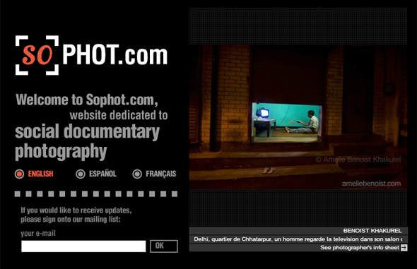 Home page del sito Sophot
