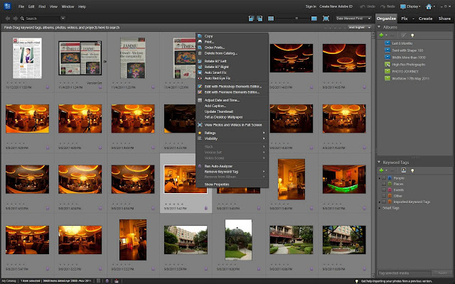 Recently I read one of the discussion on web where one of the Elements user wanted to see Shot date of a photograph and he was not able to figure out how to see that, as Date Modified is shown in Organizer. Even this date is only visible when Details are on for imagewell.In Adobe Photoshop Elements Organizer, there is a Properties dialog which shows File Properties including IPTC, GPS, Carema Data (Exif) and Edit History of a photograph inside Adobe Photoshop Elements Organizer.Let's see how can we access different types of Metadata in Adobe Photoshop Elements Organizer.1. Right Click on a photograph, for which you want to access the metadata information and click on bottom option which says 'Show Properties2. Following Properties Dialog will be shown on opting this option. Dialog will look like what you see below3. By default General tab of Properties dialog is shown and we need to move to Metadata Tab by clicking blue icon, which is highlighted in the image below4. Properties - Metadata is actually showing all types of metadata in brief form. To see detailed metadata for selected file, check the 'Complete' checkbox in the bottom of Properties DialoIf we talk about Date Created, check out EXIF metadata which is written by camera into the photographPlease go through various metadata values shown in this Properties dialog and leave a comment in case you want to  know more around the same.