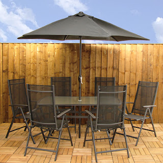 this is the santorini 8 piece garden furniture set for just 24999 it comes with a table 6 chairs and a crank handle parasol - Garden Furniture 8 Piece
