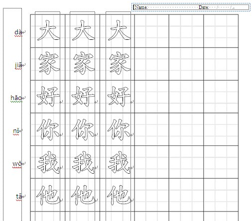 Worksheet Chinese Writing Worksheets applying ict in teachinglearning create worksheets for it computer so the customized character writing students practice by tracing can be produced within one minute ms