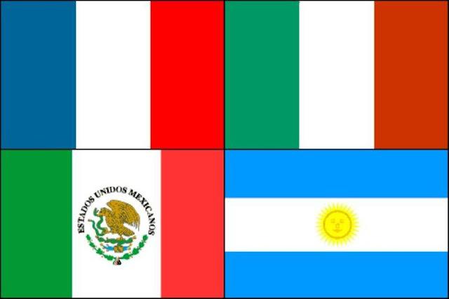 Bandera de Francia, bandera de Italia, bandera de México, bandera de Argentina