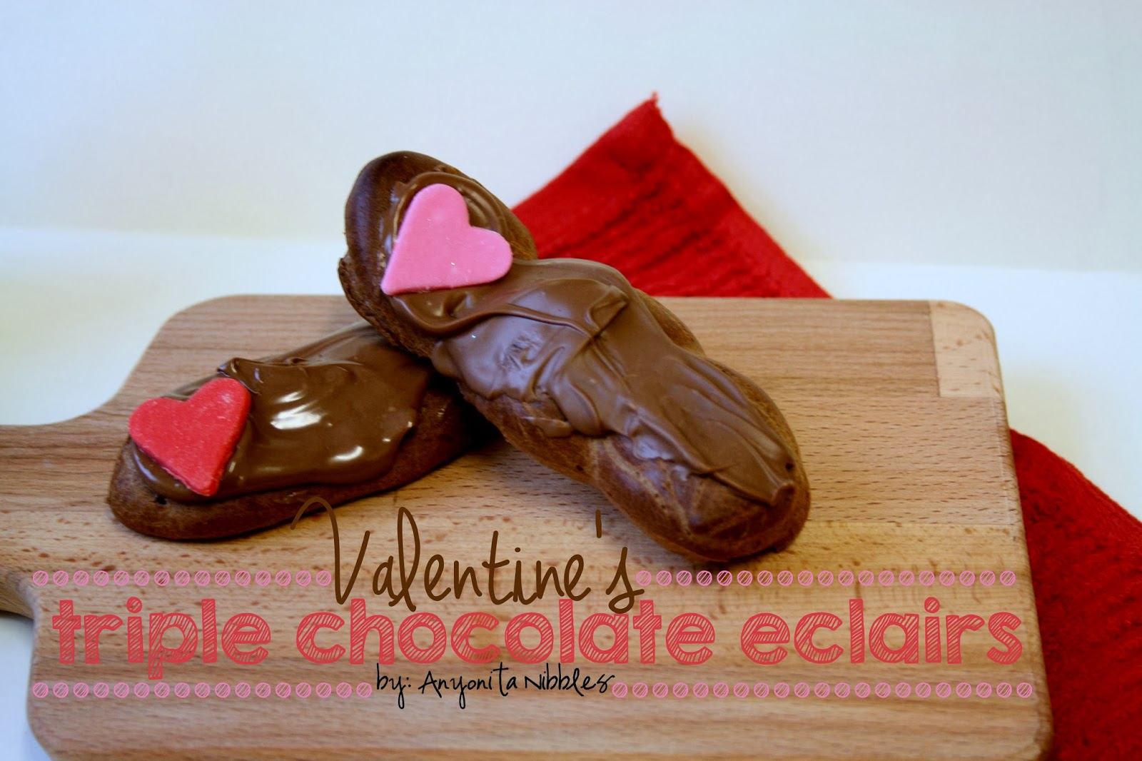 Valentine's triple chocolate eclairs with fondant hearts