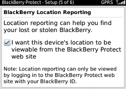 BlackBerry Location Reporting