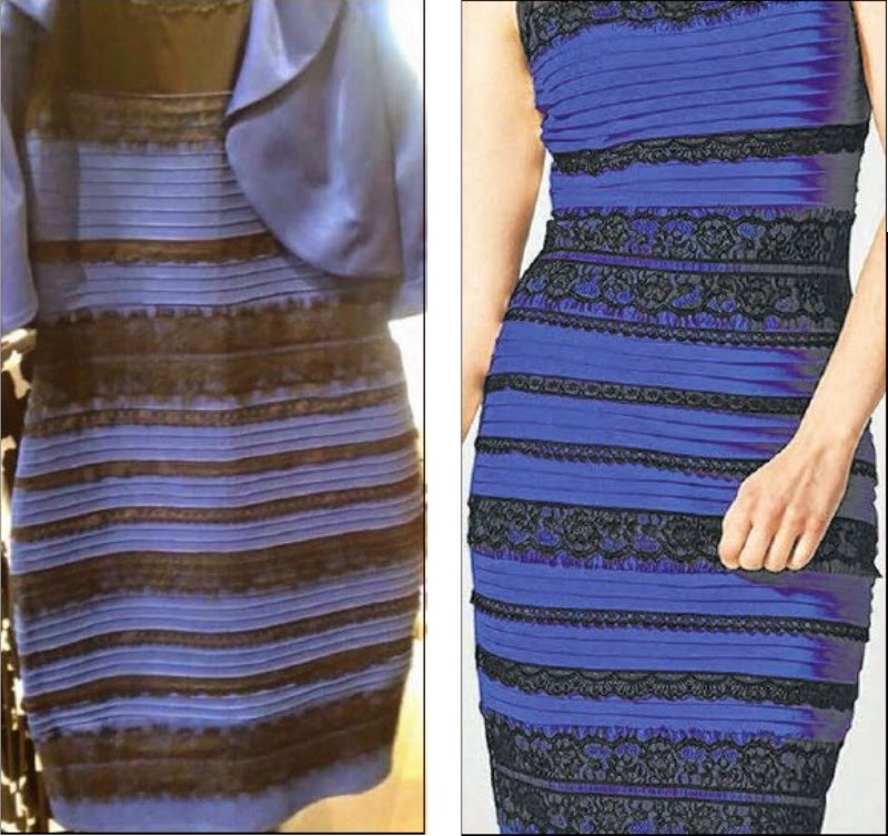 The photo that sparked the online debate (left) and how the dress really looks (right). Even Singapore's Prime Minister Lee Hsien Loong, weighed in on the question.
