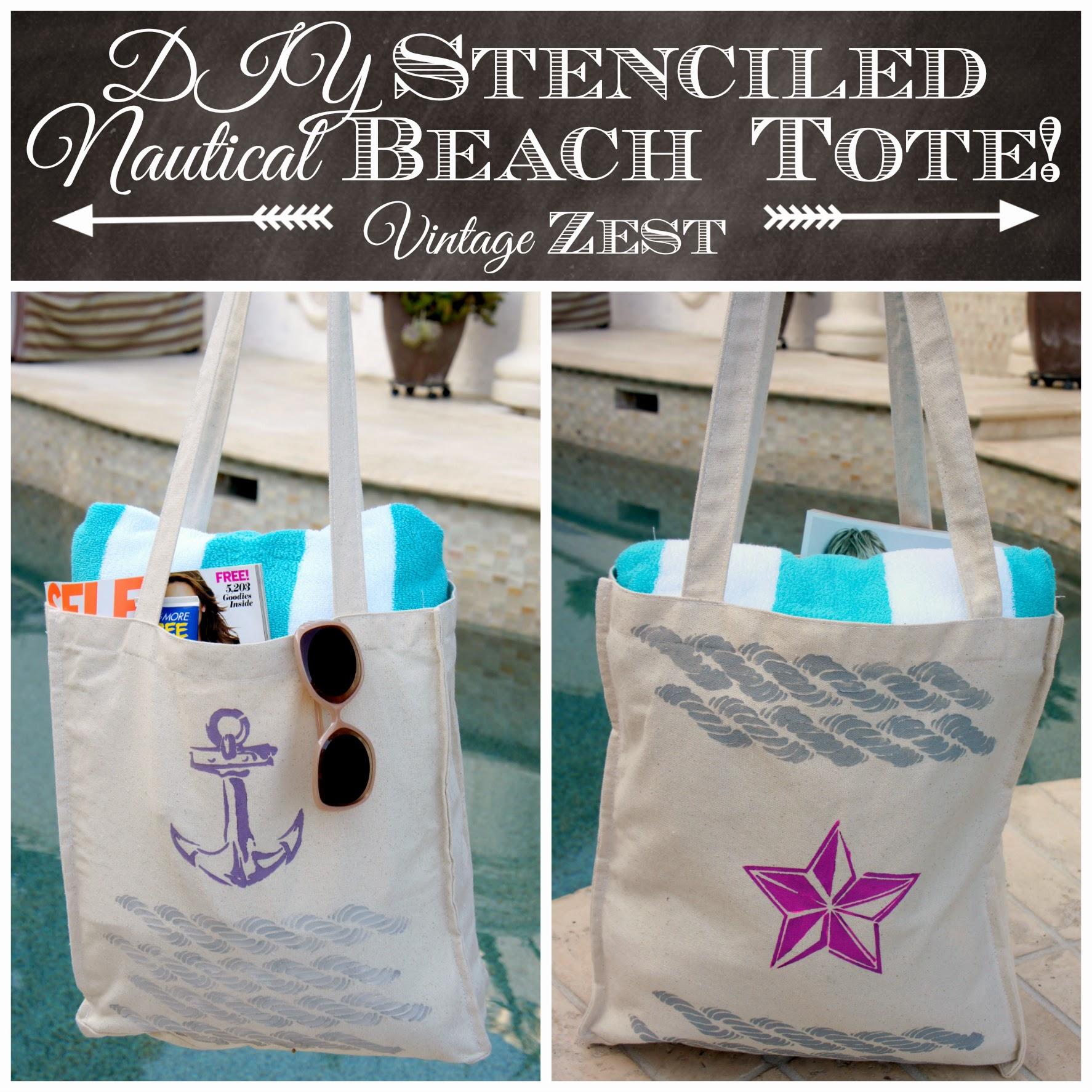 #shop #Stencil1 #cbias DIY Stenciled Nautical Beach Tote