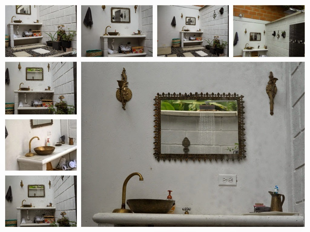 Decoracion Baño Rural: decoracion baño rustico, bañera cemento liso, decoracion baño