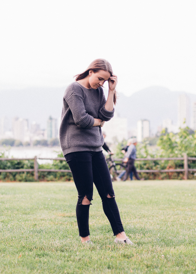 Forever 21 sweater and Gina Tricot distressed jeans on In My Dreams, Vancouver Personal Style and Fashion blog.